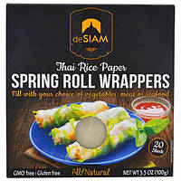 DeSIAM, deSiam, Thai Rice Paper, Spring Roll Wrappers, 20 Sheets, 3.5 oz (100 g)