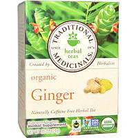 Traditional Medicinals, Herbal Teas, Organic Ginger, Caffeine Free, 16 Wrapped Tea Bags, .05 oz (1.5 g) Each