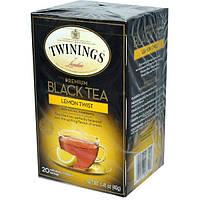 Twinings, Премиум черный чай, лимонный твист, 20 пакетиков, 1,41 унции (40 г)