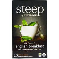 Bigelow, Стип, органический черный чай, английский завтрак, 20 пакетиков, 1,60 унции (45 г)