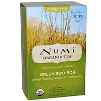 Numi Tea, Органический чай, Зеленый ройбуш, без кофеина, 18 чайных пакетиков