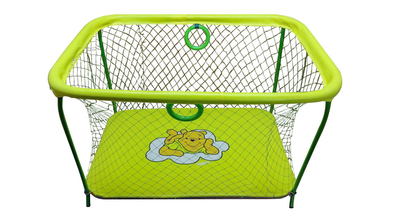 Манеж детский игровой KinderBox люкс Желтый мишка с крупной сеткой (km 5516)