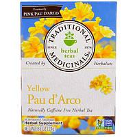 Traditional Medicinals, Желтый Пау дАрко, натуральный травяной чай без кофеина, 16 пакетиков, 0,85 унции (24 г)