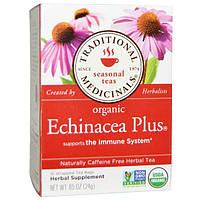 Traditional Medicinals, Сезонный чай, органическая эхинацея плюс, без кофеина, 16 индивидуально упакованных чайных пакетиков, 0,85 унции (24 г)