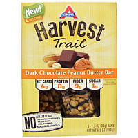 Atkins, Harvest Trail, Dark Chocolate Peanut Butter Bars, 5 packs, 1.3 oz (38 g) Each