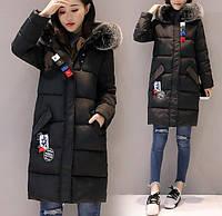 Куртка зимняя женская пуховик с лампасами (черная)