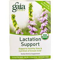 Gaia Herbs, Поддержка лактации, чай для кормящих женщин, без кофеина, 16 чайных пакетиков, 1,13 унции (32 г)