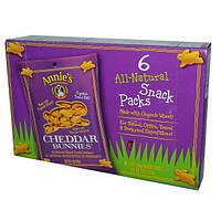 Annies Homegrown, Cheddar Bunnies, натуральные запеченные крекеры, 6 упаковок, 1 унция (28 г) каждая