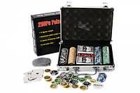 Игра Покер,200фиш(11,5г-с номин),2кол.карт,кубик,в чемодане(алюм),30-20-8см
