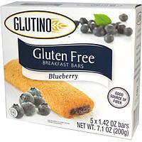 Glutino, Батончики для завтрака без глютена, черничные, 5 батончиков, 1,42 унции (40 г) каждый