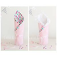 """Конверт-одеяло на выписку для новорожденной """"Pink heart"""", фото 1"""