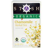 Stash Tea, Органический травяной ромашковый чай, без кофеина, 18 чайных пакетиков, 0,6 унции (18 г)