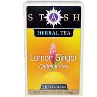 Stash Tea, Травяной чай высшего сорта, лимон и имбирь, без кофеина, 20 чайных пакетиков, 1,1 унции (34 г)