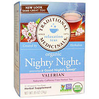 Traditional Medicinals, Органический чай для питья перед сном Nighty Night, валериана, 16 отдельных пакетика, 24 г