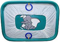 Манеж детский игровой KinderBox солнышко Бирюзовый слоник с мелкой сеткой (kms 1751)