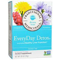 Traditional Medicinals, Чай для детоксикации, ежедневный детокс, травяной чай