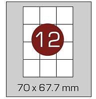 Этикетки самоклеящиеся А4, (12) 70*67.7, 100 листов в упаковке, прямые края. AXENT, фото 1