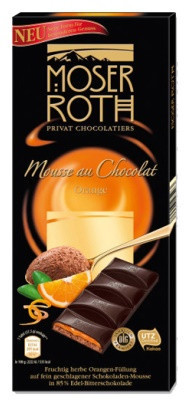 Шоколад черный Moser Roth Mousse au Chocolat Orange с апельсином, 187,5 гр