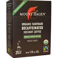 Mount Hagen, Органический растворимый кофе без кофеина, приобретен на основе честной торговли, 25 упаковок (50 г)