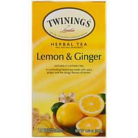 Twinings, Herbal Tea, Lemon & Ginger, Caffeine Free, 25 Tea Bags, 1.32 oz (37.5 g)