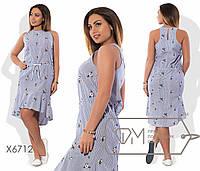 Нежное женское платье для пышных модниц (коттон, вышивка, пояс на кулиске, удлиненное сзади) РАЗНЫЕ ЦВЕТА!