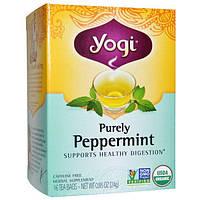 Yogi Tea, Organic, Purely Peppermint, без кофеина, 16 чайных пакетиков, 0,85 унции (24 г)