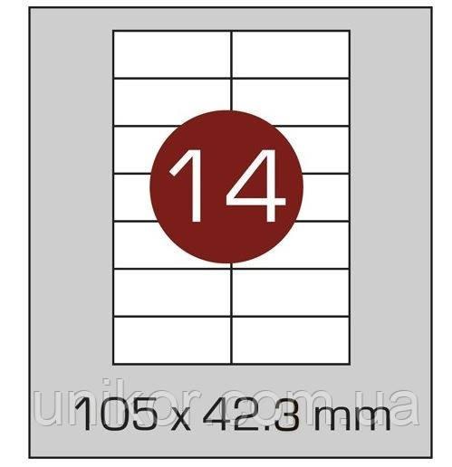Этикетки самоклеящиеся А4, (14) 105*42.3, 100 листов в упаковке, прямые края. AXENT