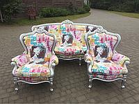Диван тройка и одно кресло в стиле Барокко (Поп-Арт)