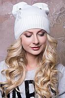 """Женская вязаная шапка с ушками """"Селена"""""""
