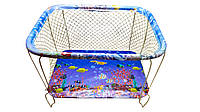 """Манеж детский игровой""""KinderBox""""(аквариум синий)с крупной сеточкой"""