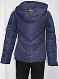 Куртка женская осенняя, с капюшоном, темно-синяя, фото 3