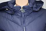 Куртка женская осенняя, с капюшоном, темно-синяя, фото 4