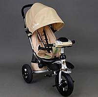 Трехколёсный детский велосипед колясочного типа Best Trike 698 бежевый, резина