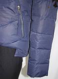 Куртка женская осенняя, с капюшоном, темно-синяя, фото 6