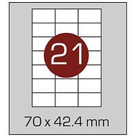 Этикетки самоклеящиеся А4, (21) 70*42.4, 100 листов в упаковке, прямые края. AXENT, фото 1