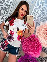 """Молодежный, женский, летний костюм футболка + джинсовые шорты с объемными нашивками """"Сочные цветы"""""""