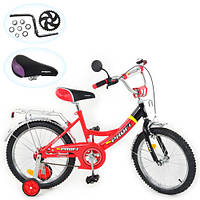 Детский велосипед 2-х колесный PROFI 14Д. P красно-черный, + страхов.колеса