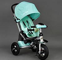 Трехколёсный детский велосипед колясочного типа Best Trike 698 бирюзовый, резина