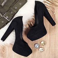 Туфли устойчивый каблук чёрная замша