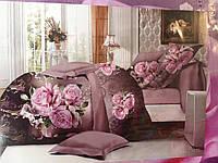 Постельное белье евроразмер с розами сатин