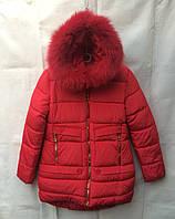 Полу-пальтозимнее подростковоедля девочки 9-13лет,красное с мехом