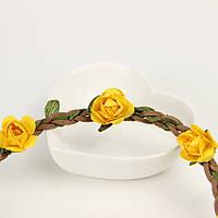 Резинка ободок на голову с желтыми цветочками
