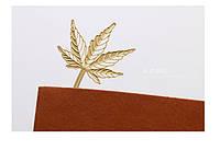Интересная закладка для книги металлическая Листик золотистый