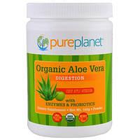 Pure Planet, Органическое алоэ вера, пищеварение, сочная яблочная амброзия, 160 г