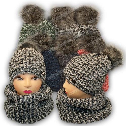 ОПТ Комплект шапка и шарф (хомут) для девочки, р. 50-54, подкладка флис, 7022 (5шт/набор)
