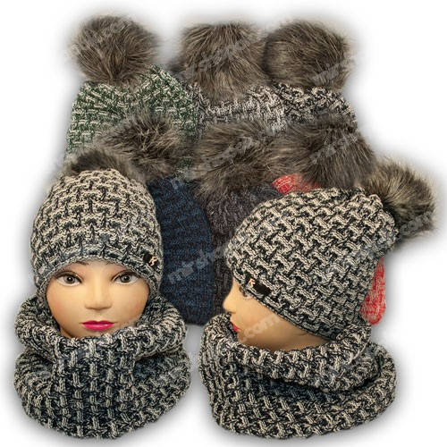 Комплект шапка и шарф (хомут) для девочки, р. 50-54, подкладка флис, 7022
