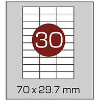 Этикетки самоклеящиеся А4, (30) 70*29.7, 100 листов в упаковке, прямые края. AXENT, фото 1