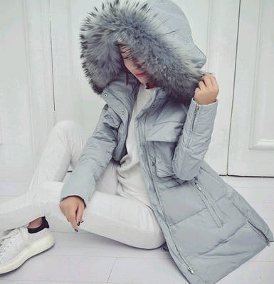 Куртка зимняя женская пуховик с капюшоном (голубо-серая)