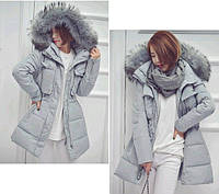 Куртка зимняя женская с капюшоном (голубо-серая)