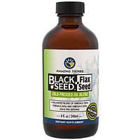 Amazing Herbs, Черный тмин, семя льна, смесь масел холодного отжима, 8 жидк. унций (240 мл)